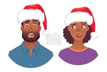 Illustration pour Portrait d'un homme et d'une femme africains en chapeau de Noël. Les émotions de la femme afro-américaine face. Expression faciale hommes illustration vectorielle - image libre de droit