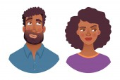 Portrait of african man and woman Emotions of african american woman face Facial expression men vector illustration