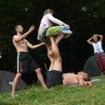 Steam yoga in nature, Ukraine, embankment of the D...