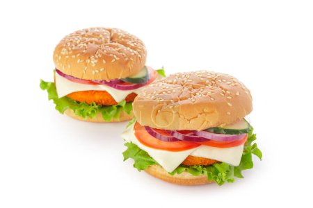 Detail view of burgers on white background