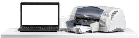 office desktop printer and laptop on white background