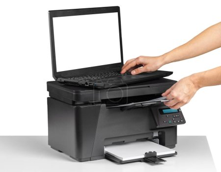 Woman hand using printer in office