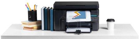 Printer copier machine on white background