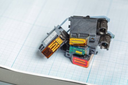 Detail of computer printer ink cartridges