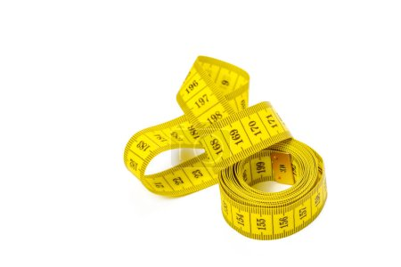yellow metric measuring tape isolated on white background