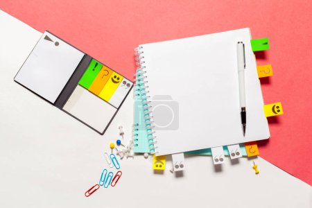 School and office supplies on color background