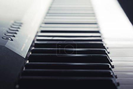 Piano keyboard, close up view