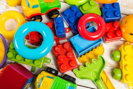 Colourful children toys, top view