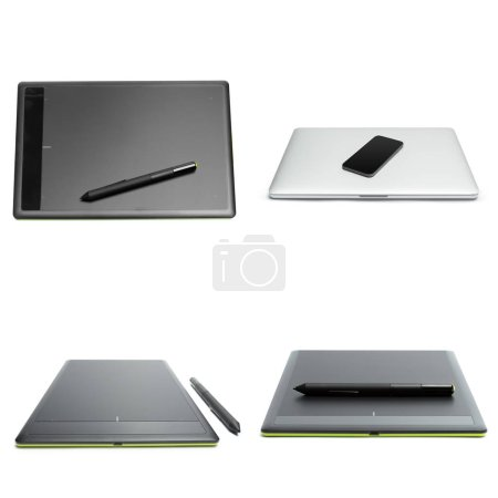 graphic tablet with pen for illustrators and designers, isolated on white background.