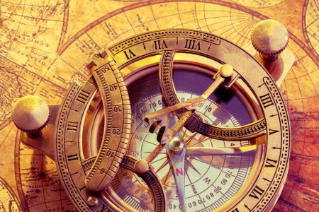Old compass with ancient map on background