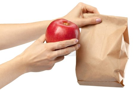Photo for Woman holding out hands offering an apple isolated - Royalty Free Image