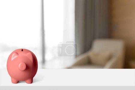 piggy bank on blurred background