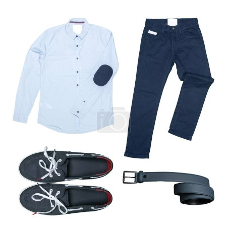 Male clothes and accessories on white background