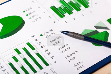 close-up view of Business Charts, business concept