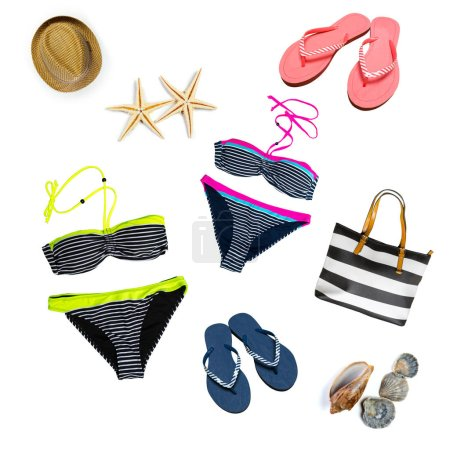 woman swimsuit beach accessories collage on white background