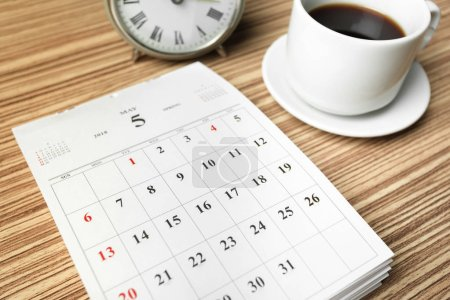 calendar on wooden table