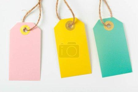Photo pour Étiquettes isolés sur blanc, gros plan - image libre de droit