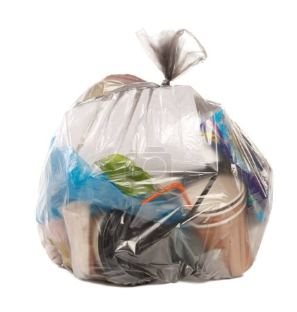 Plastic bag full of rubbish on isolated white background