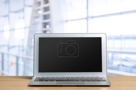 Photo for Computer  screen on a working table front view - Royalty Free Image