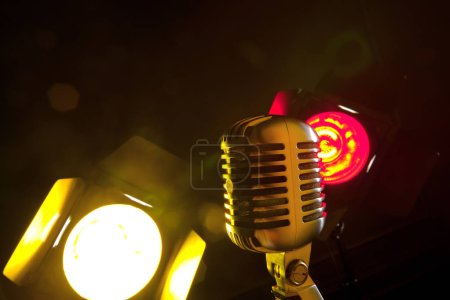 audio microphone retro style, close-up view