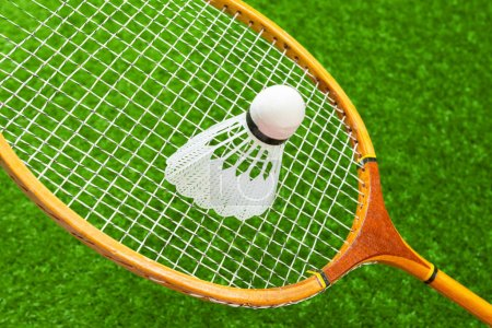 Badminton on grass, close-up view
