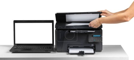Printer on workplace on table