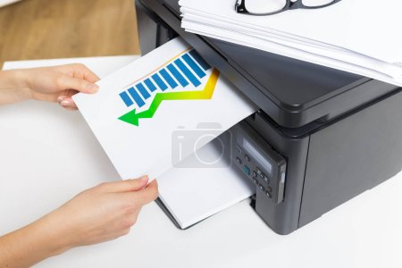 printer in office on background,close up