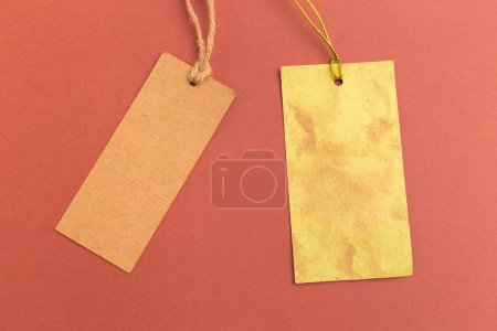 elevated view of blank price tags