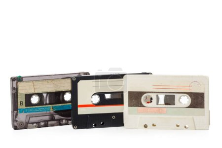 music audio tapes  isolated on white background