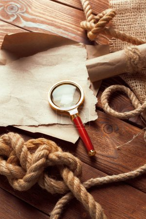Wooden background with nautical decor