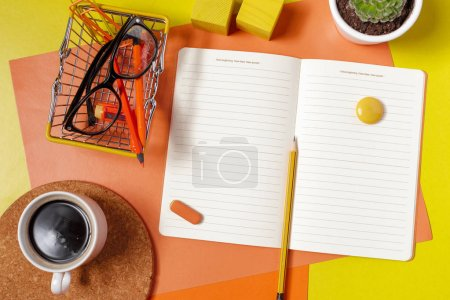 close up of colorful work space