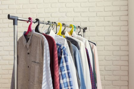 Photo for Clothing rack with colorful clothes - Royalty Free Image
