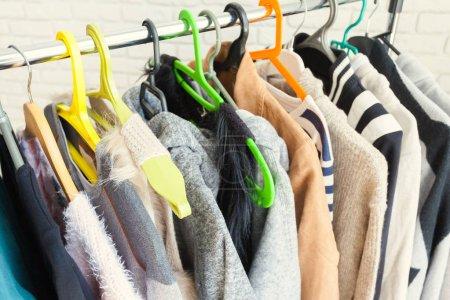 Clothing rack standing indoor