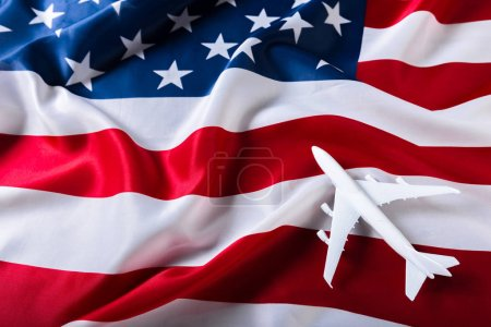 American flag with airplane