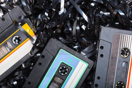 music audio tape, close up view