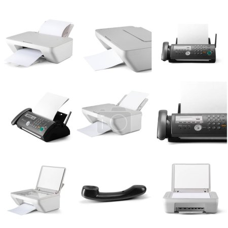 Modern digital printers isolated on white background