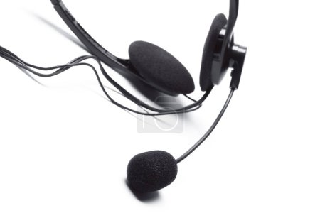 headset with microphone isolated on white background