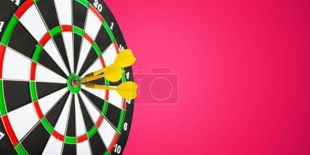 darts arrows in target center on bright background