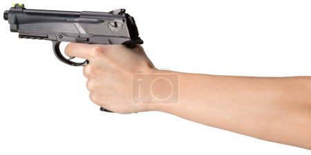 person holding Handgun isolated on white background