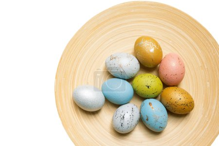 Photo for Colorful Easter eggs isolated on white background - Royalty Free Image