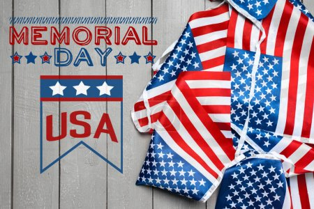Photo for Composite image of Memorial Day, holiday concapt with american flag - Royalty Free Image