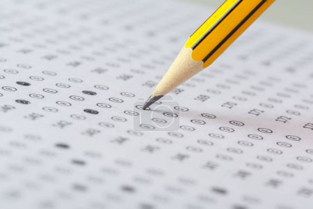 Photo for Close up view of Test score sheet with answers - Royalty Free Image
