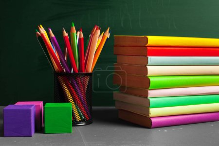 objects on green background, back to school concept