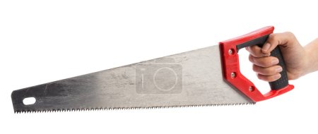 close up of Hand saw isolated on white background.
