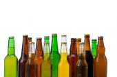 Set of beer bottles isolated