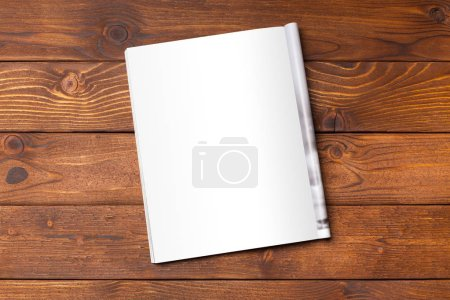 Photo for Blank book or magazine cover on wood background - Royalty Free Image