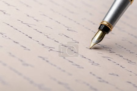 Photo for Fountain Pen on Written Page - Royalty Free Image