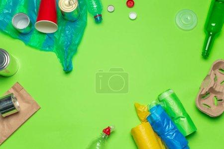 waste materials paper, plastic, polyethylene