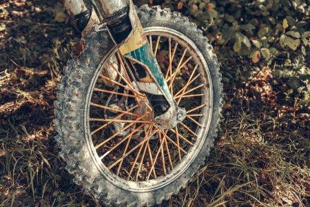 Details of dirty Motocross Bike