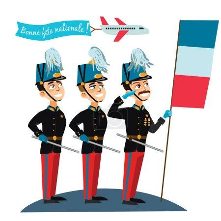 Illustration pour Défilé militaire lors de la cérémonie de la fête nationale française Illustration vectorielle du jour de la Bastille, armée d'officiers en cérémonie . - image libre de droit